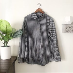 Chaps stretch easy care button up plaid size large